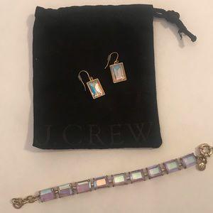 J. Crew blue iridescent earrings and bracelet